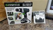Genesis GCD18BK 18v Cordless Drill/Driver Kit, Grey w/ 2nd Battery Pack